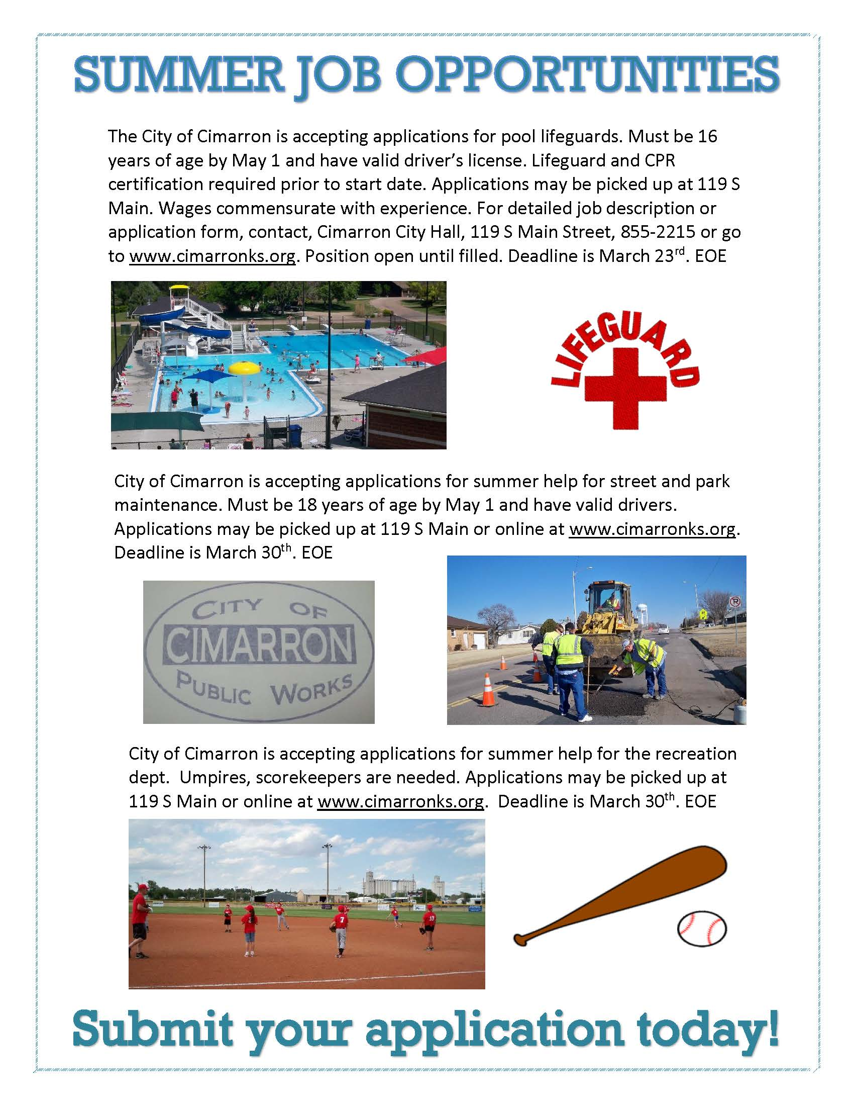 summer job opportunities city of cimarron job ads flyer